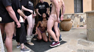 Facial, Curly, Gangbang interracial, Cute gangbang