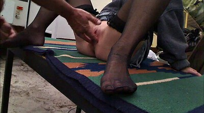 Foot, Nylon foot, Big clit