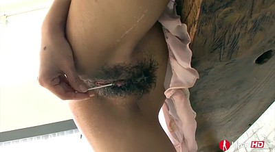 Japanese solo close, Hairy solo masturbation