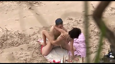Caught, Camera, Public couple, Horny couple, Beach voyeur, Beach fuck