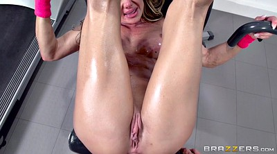 Gym, Oiled anal, Big cock anal, Muscled milf