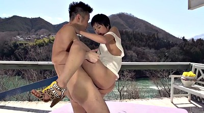 Hairy creampie, Double blowjob, Japanese girl, Two girls handjob, Short shorts, Short hair