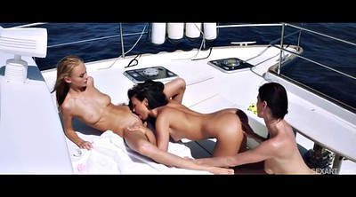 Boat, Threesome party, Outdoor lesbian