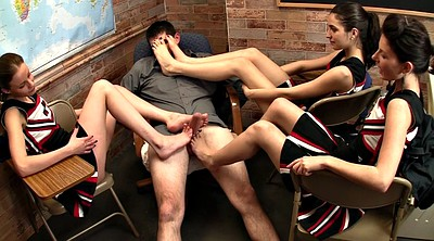 Footjob cumshot, Triple footjob, Cheerleader