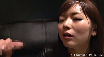 Latex, Asian facial, Asian handjob, Asian bukkake