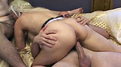 Blonde, Huge toys, Hard sex, Double handjob, Double blowjob