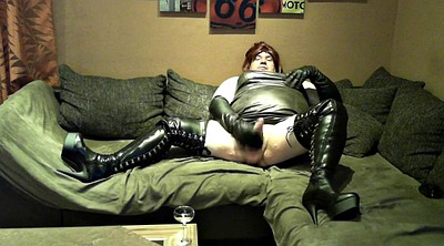 Leather, Voyeur masturbation, Leather boots, Leather boot