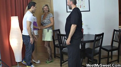 Mature couple, Teen mature, Old threesome, Family threesome