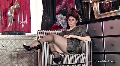 Nylon milf, Nylon, Mature solo, Pantyhose fetish, Mature masturbating, High heels pantyhose