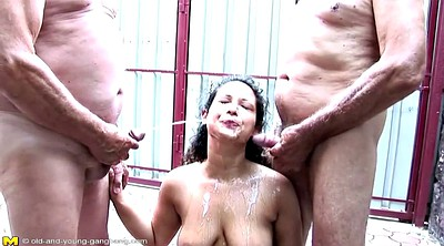 Pissing, Old and young, Granny gangbang, Mature old couple, Mature group, Old couple