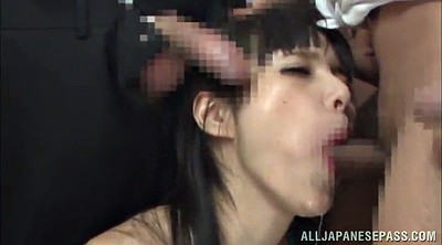 Cum in throat, Asian handjob, Asian gangbang, In throat, Cum in