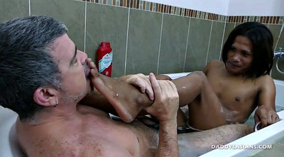 Shower, Young gay, Asian old