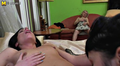 Three, Old and young lesbian, Mature and young lesbians