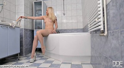 Toilet, German teen, Blonde pussy
