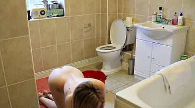Toilet, Nude, Clean, Young girl solo, Toilets