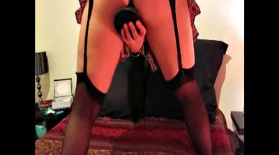 Homemade, My wife, Huge dildo, Mature dildo, Mature stockings, Ebony stockings