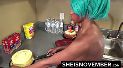 Kitchen sex, Sex in kitchen, Ebony solo