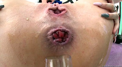 Oiled anal, Champagne, Anal gaping