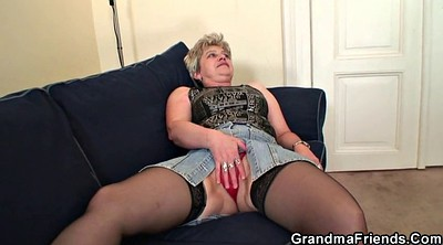 Grandma, Threesom, Young threesome, Old young threesome, Double mature, Double granny