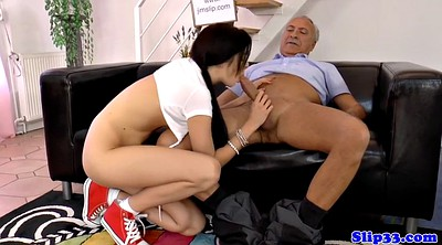 Old man, Teens, Granny handjob