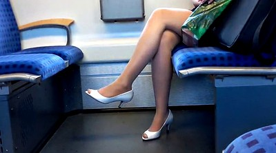 Heels, Nylon foot, Train, Nylons
