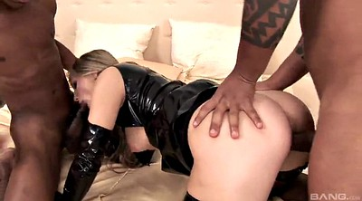 Latex, Big tits, Latex anal, Mmf, Stockings handjob, Double handjob