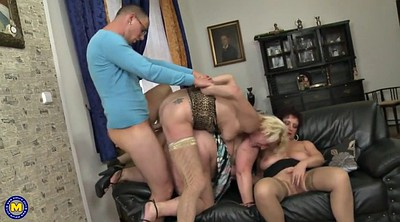 Mother son, Group granny, Young son, Sharing, One, Milf old
