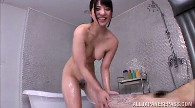 Hairy shower, Asian handjob