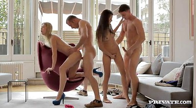Foursome, Shooting, Panty fuck, Blonde handjob