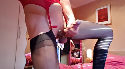 Nylon, Crossdresser, Nylon handjob