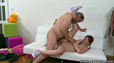 Old man, Old man threesome, Anal granny