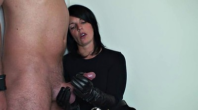 Glove, Glove handjob, Leather, Handjob femdom, Gloves handjob, Gloved