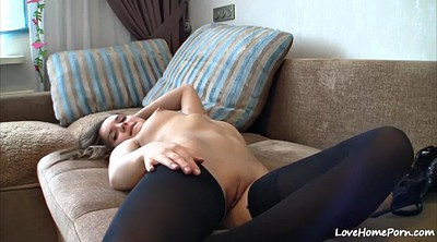 Teen masturbation, Stockings solo, Stock