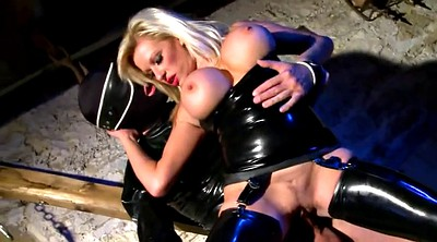 Latex, Busty blonde, Black slave