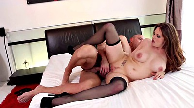 Busty, Stock, Black stocking, Bed fuck