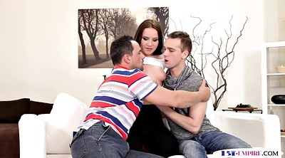 Gay threesome, Pussy eating