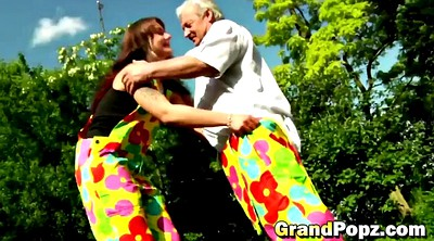 Grandpa, Abuse, Grandpa teen, Round, Garden, Abused