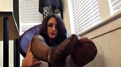Footjob, Pantyhose footjob, Office footjob