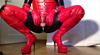 Boots, Crossdressing, Big boots, Big boot, Leather gloves