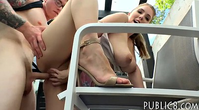 Blowjob, Flashing, Flashing cock, Czech public