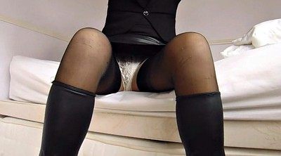Nylon, Upskirts, Leather, Ebony stockings, Ebony stocking