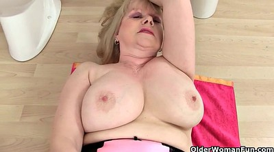 Stockings solo, Granny solo, Big tit granny solo, Red