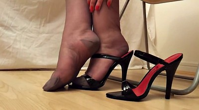 Heels, Flash, Mature heel, Black stocking