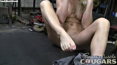 Gym, Creamy pussy, Small tits mature, Blonde milf