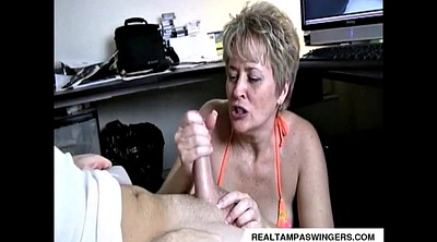 Watching porn, Mature handjob