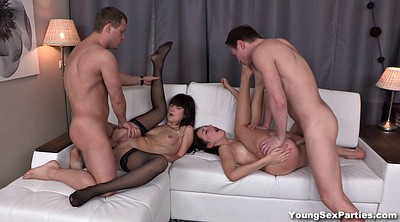 Foursome, Young couple, Party fuck, Friends girlfriend