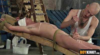 Bj, Tied up, Tied handjob, Tied blowjob, Gay slave