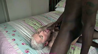 Ebony mature, Granny threesome