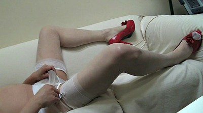 Stockings hd, Pantyhose masturbate, White stockings, Red, Amateur double penetration
