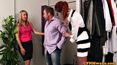 Cfnm handjob, Store, British threesome, Cfnm blowjob, British handjob, Salesgirl